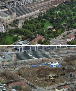 Stuttgarter Schlossgarten früher und heute nach den Baumfällungen. Luftbilder: © Manfred Grohe